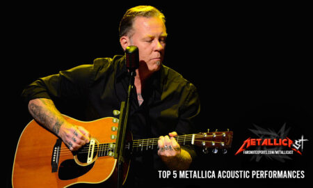 James Hetfield playing acoustic guitar